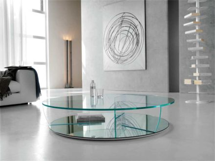 Kadir Designer Glass Round Coffee Table